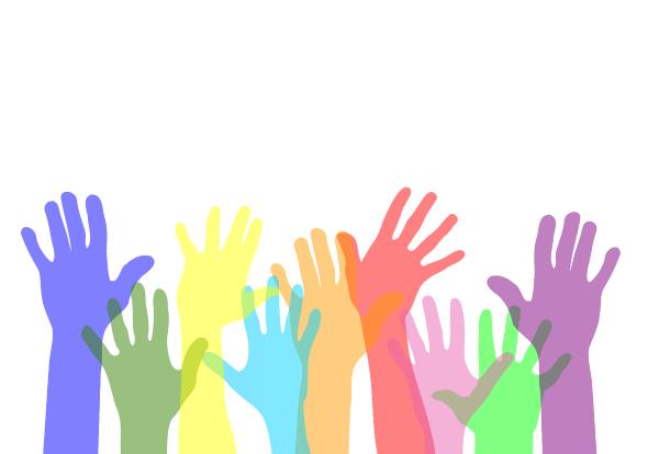 Bild mit vielen, farbigen Händen symbolisieren freiwilliges Engagement