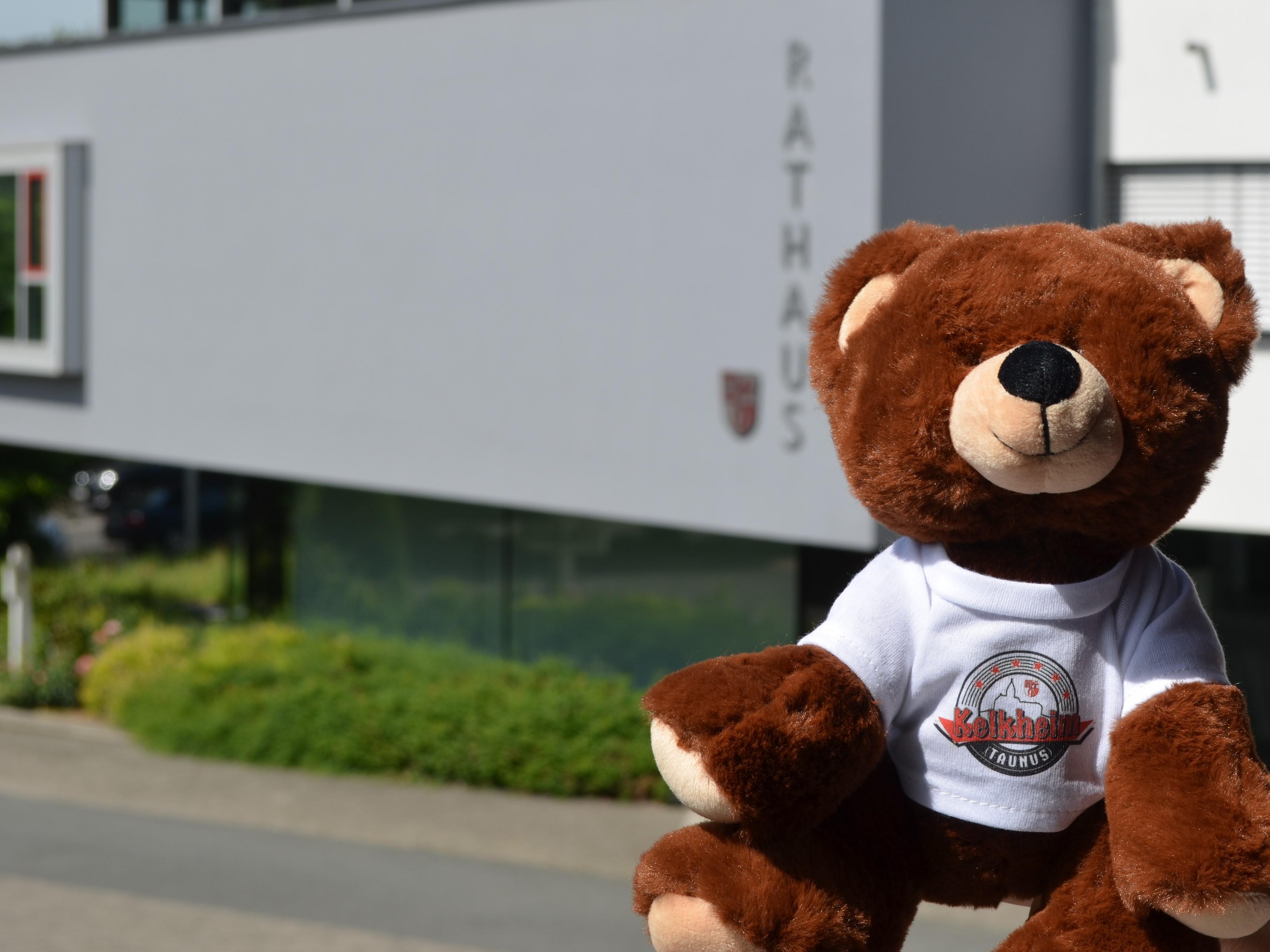 Teddybär Kalle mit Kelkheim T-Shirt vor dem Rathaus