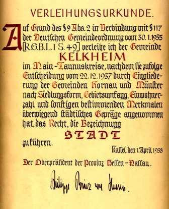 Stadtrechtsurkunde der Stadt Kelkheim